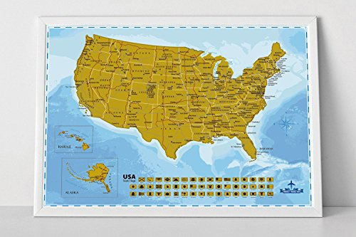 Wonderful Maps Scratch Off USA Map Poster With All US States and State Flags. Detailed Map of the United States of America with Highways and State Capitals. A1 Poster Size, 32.5 x 23.6 Inches Map.