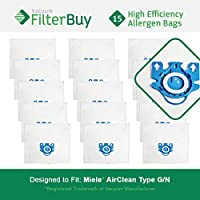 15 - FilterBuy Miele GN Compatible Vacuum Bags. Miele Parts #s 7189520 & 10123210. Designed by FilterBuy to replace Miele AirClean GN Vacuum Bags