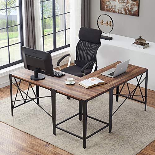 (O&K Furniture Large Corner Desk, Industrial L-Shaped Computer Desk for Home Office, Vintage Brown)