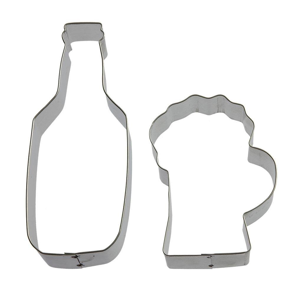 Bottoms Up Cookie Cutter Set - 2 Piece - 6 in Beer Bottle, 4 in Beer Mug - Foose Cookie Cutters - US Tin Plated Steel HS0411