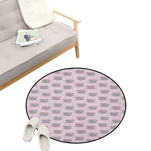 """Pink and Grey Round Rug ,Little Mouse Characters with Hearts on Striped Backdrop for Toddler Nursery, Flannel Microfiber Non-Slip Soft Absorbent 31"""" inch Pink Grey"""