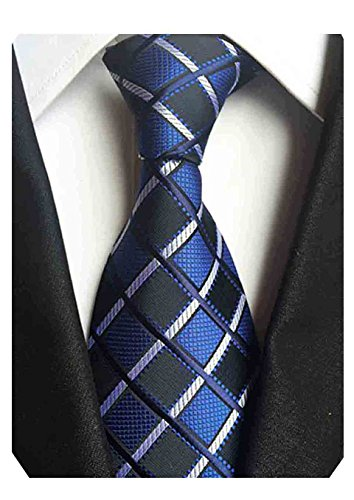 Blue Striped Designer Silk Necktie (MINDENG New Men's Black and White Striped Silk Jacquard Woven Suits Tie Necktie)