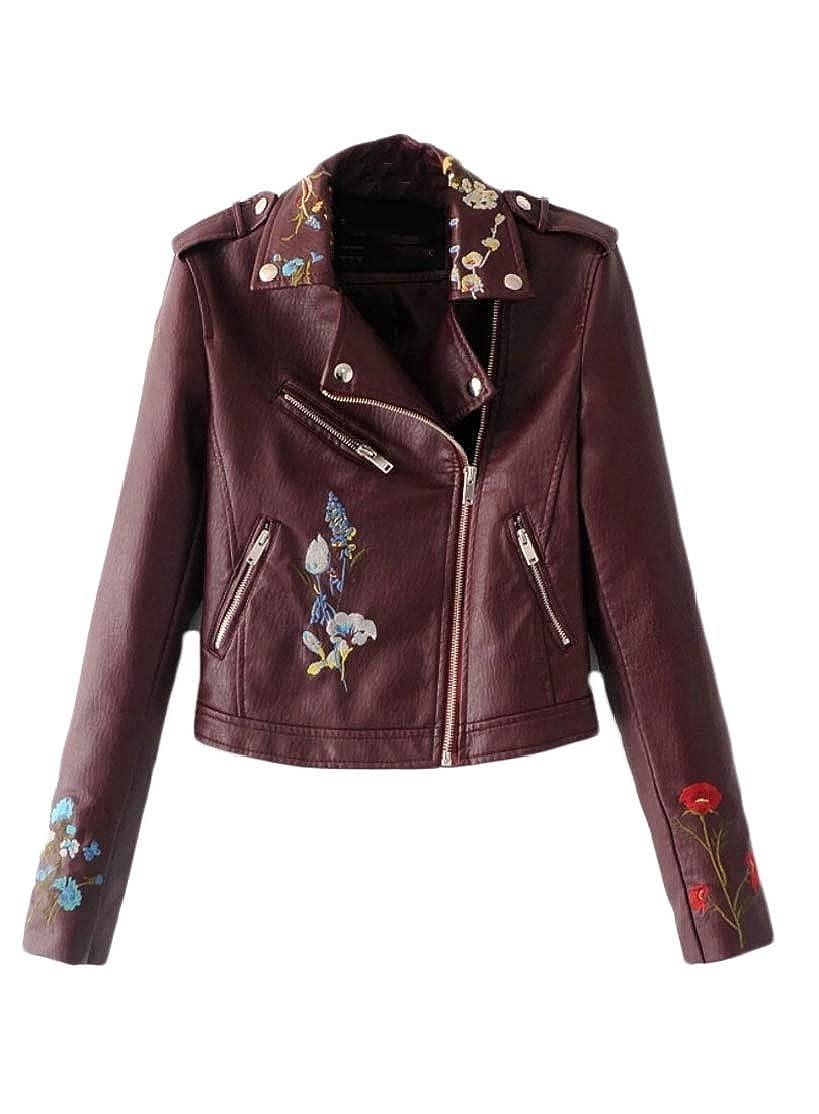 M& S& W Women's Floral PU Faux Leather Short Motorcycle Biker Jacket Coat