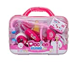 Abeson Doctor Kit for Kids Pretend Play Toy 9 Piece Medical Set With Berenstain Bears Go to the Doctor Book (Pink)
