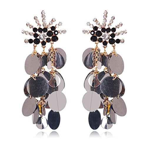 Country Western Dance Competition Costumes (Women Tassel Sequins Dance Earrings Ear Stud Fashion Jewelry Long, Black)