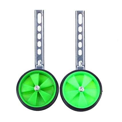 Kids Bicycle Training Wheels 2Pcs Adjustable Training Side Wheels Support Wheels Kids Bike Stabilizer for Children 12-20 Bicycle Balance Safe for Your Child Green