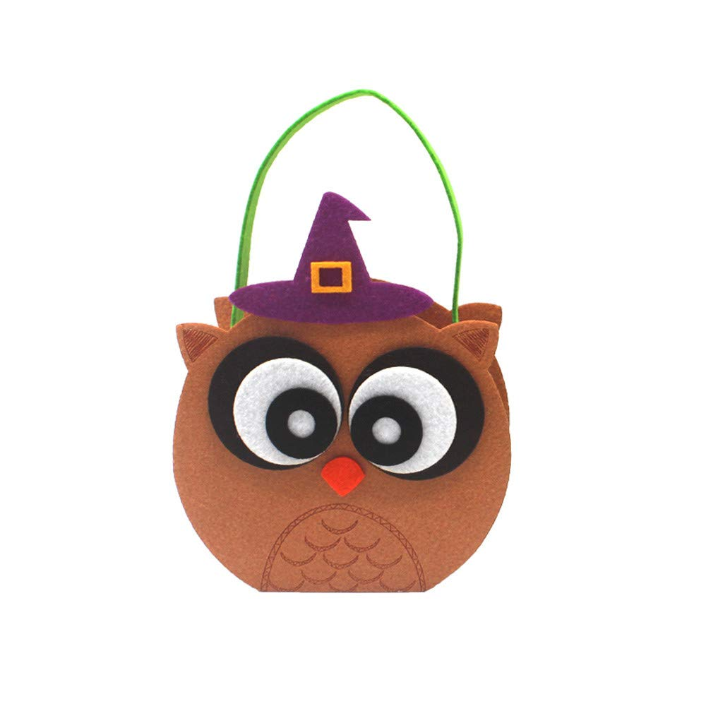 Halloween Bags for Candy Kids Festival Gifts Non-Woven Party Decor Treat or Trick Candy Demon Pumpkin Bag Basket (D)