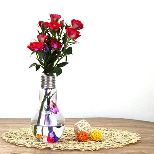 Flower Vase (with Light) 500ml Glowing Light Bulb Shape Stand Plant Flower Vase Hydroponic Container Bottle GOTD (Silver)