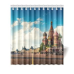 Colorful Design Polyester(Fabric) Shower Curtain 66inch(w) 72inch(h) with Hooks and Holes[Moskva Building]