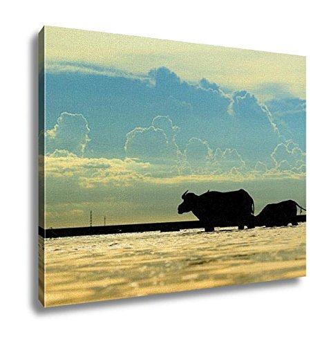 Ashley Canvas, Silhouette Of Buffalo In The Water, Home Decoration Office, Ready to Hang, 20x25, AG6344536 by Ashley Canvas