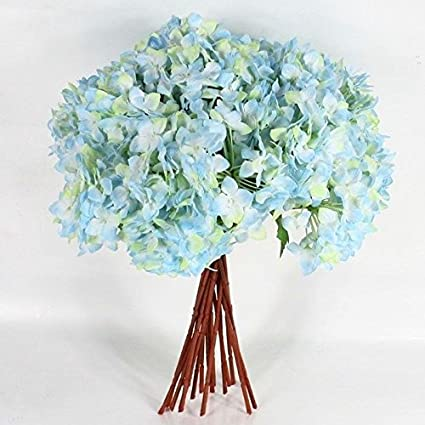 Artificial Single Hydrangea Flower Leaf Bouquet Wedding Party Garden Home Decor Color:Blue