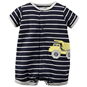Carters Baby Boys 1-piece Appliqué Snap-up Cotton Romper (Newborn, Navy Truck)