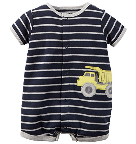 Infant Onesie Creeper (Carters Baby Boys 1-piece Appliqué Snap-up Cotton Romper (3 Months, Navy Truck))