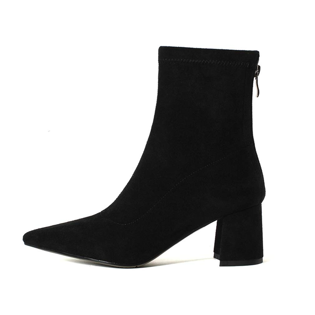 A Women's Fashion Boots Suede Autumn Winter Stretch Boots European and American Pointed High Heel Ankle Boots Walking shoes (color   B, Size   36)