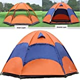 Double Layer Instant Family Tent 4-6 Persons Large Automatic Pop Up Camping Tents, Windproof and Rainproof Anti-UV Sun Shade Canopy for Outdoor, Picnic, Sports, Camping, Hiking, Travel & Beach