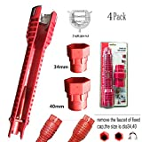 Faucet and Sink Installer Tools, (Screw head) Waste pipe extractor & 3 replaceable heads for Plumbing/Toilet Bowl/Sink/Bathroom/Kitchen Plumbing (8 in 1, Red)