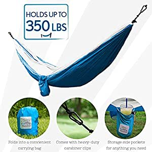 June & May Beach Hammock (Double) Lightweight Nylon Parachute Portable Hammock, Perfect Hammock for Camping, Backpacking, or the Beach