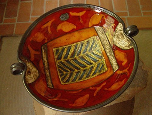(Large Pottery Fruit Bowl with Hand Painted Decoration. Wheel Thrown Ceramic Bowl)