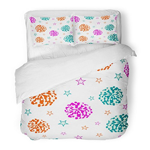 SanChic Duvet Cover Set Pink Pom Cheerleading Pompoms and Stars Cheerleader Megaphone Decorative Bedding Set with 2 Pillow Cases Full/Queen Size