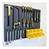 Pegboard Kit - 4 Panels, 8 Storage Part Bins, and Flex-Lock Peg Hooks