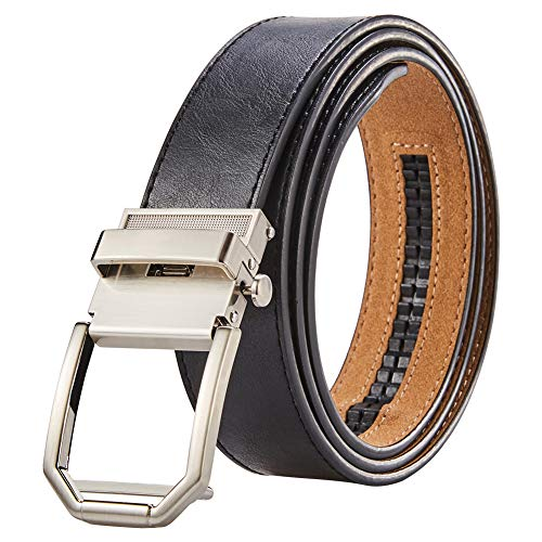 Men Wide Leather Ratchet Dress Belt - Adjustable Belt With Clasp Buckle, Trim to Fit, Black, Adjustable from 28'' to 36'' Waist