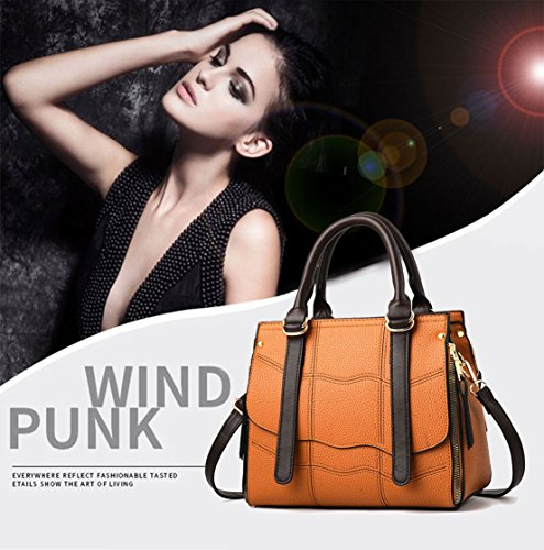 Cross Handle Faux Women's Top Leather Yellow Bags Handbags Shoulder Bags Body Bags zqF4d