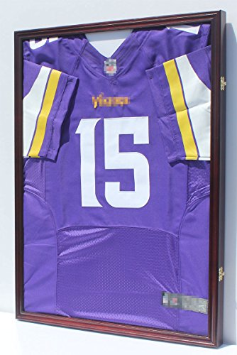 (PRO UV Protection Baseball, Hockey, Basketball, Football Jersey Display Case Wall Shadow Box, Lockable, Mahogany)
