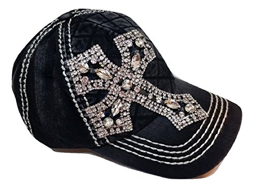 (Olive & Pique Women's Rhinestone Cross Quilted Bling Baseball Cap (Black))