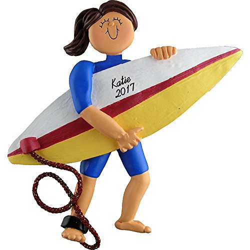 "Surfer Personalized Christmas Ornament - Girl - Brown Hair - Handpainted Resin - 4.5"" Tall - Free Customization by Calliope Designs"