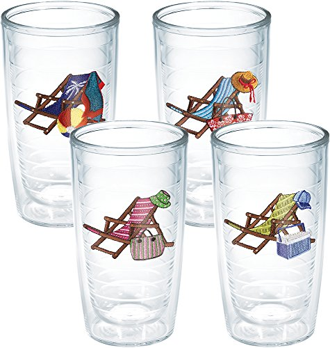Tervis 1185341 Beach Chair Assorted Insulated Tumbler with Emblem 4 Pack - Boxed, 16oz, Clear