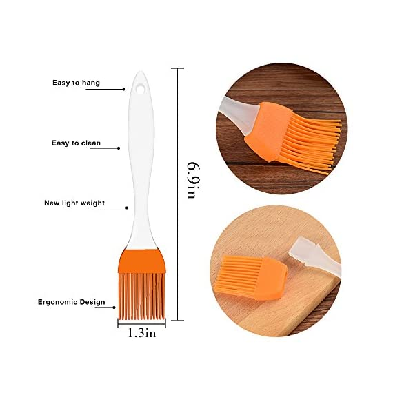 Famecame Pastry Brush Set of 6,Basting Brush,Heavy-duty BBQ Brush - Barbeque Utensil Use For Grilling & Marinating - Desserts Baking(Orange) 7 6PCS ORANGE BASTING BRUSH! - 6.8*1.2*4 Inch High Quality Pastry Brush *6 ,HEAT RESISTANCE FOR BBQ, MARINATING,TURKEY BASTER,DESSERTS BAKING AND SO ON.ENJOY DIY AND BARBECUE WEEKEND WITH FAMILY. Ultra-Soft but Firm Silicone Bristles-USING FOOD GRADE SILICONE.Well Arranged and Dense,it Can Hold Generous Amounts of Liquid to Save the Condiments & Dipping,and Will not Leave Hair to Damage Food. Silicone Basting Brush Handle is Ergonomic Design-USING HIGH QUALITY PP MATERIAL, MATTE SURFACE DESIGN,NON-SLIP,SOLID AND LIGHTWEIGHT,CAN BE USED MORE SMOOTHL.the Handle Can be hung to Save the Kitchen Space.