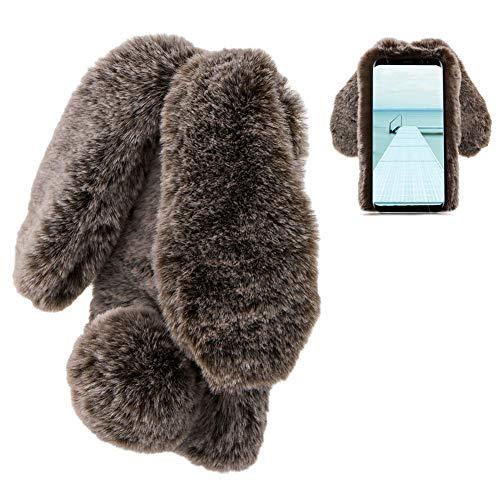LCHDA Samsung Galaxy S6 Rabbit Case,Samsung Galaxy S6 Rabbit Fur Case Bunny Ear Phone Case For Girls Fuzzy Cute Warm Winter Soft Furry Fluffy Ball Fur Hair Plush Protective TPU Bumper Skin Cover-Brown
