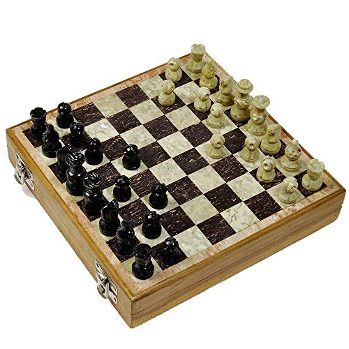 Set Chess Decorated Hand - EtsiBitsi Premium Quality Stone Pieces Carved Chess Board 10 Inches Classic Handmade Game Set Antique Showpiece