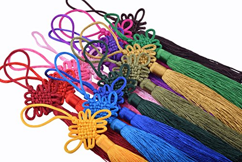 KONMAY 10pcs Handmade Silky Large Size(6.4'') Tassels with Satin Silk Made Chinese Knots (Mixed Randomly)