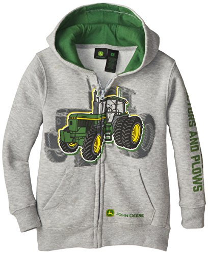 John Deere Little Boys' Tractor and Plows Fleece Zip Hoodie, Grey, 4