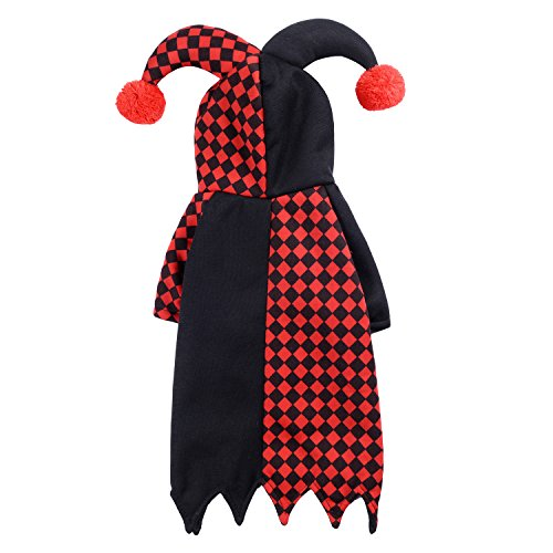 Woo Woo Pets Joker Fesitival Party Fancy Dress Clothes Costumes Black and Red S (Pet Joker Costume)