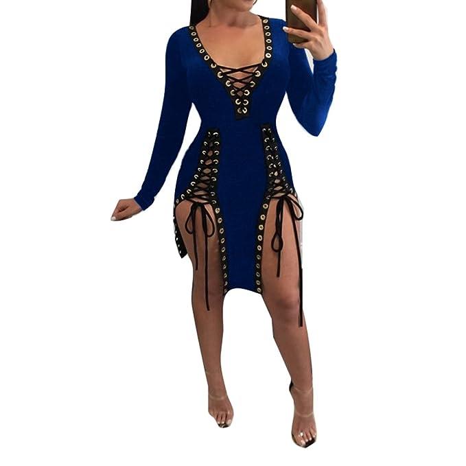 Mini vestido ajustado para mujer - Vestidos ajustados irregulares de manga larga - hibote