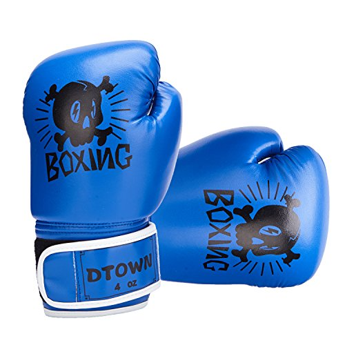 (Dtown Blue Junior Boxing Gloves for Kids Girls Boys Sparring Gloves PU Leather Kickboxing Gloves 4oz Muay Thai Boxing Gloves Teens Toddlers)