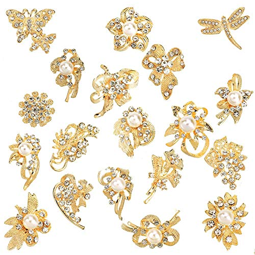 Ezing Lot 24pc Shining Rhinestone Crystal Brooches Pins DIY Wedding Bouquet Kit (B) ()