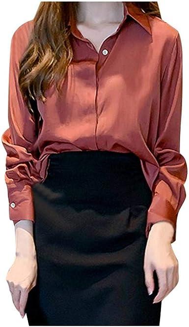 VJGOAL Blusa de Mujer Moda Color sólido Manga Larga Solapa ...