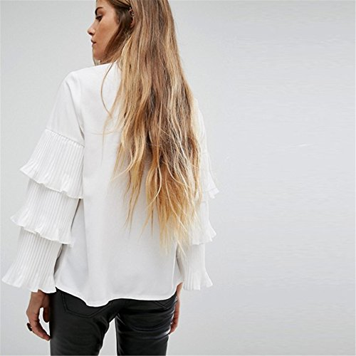 Self Lazo Cuello Alto Subido Plisado Varias Capas Volante Mangas Acampanadas Manga Larga Blusón Blusa Camisero Camiseta Camisa Top Blanco Blanco