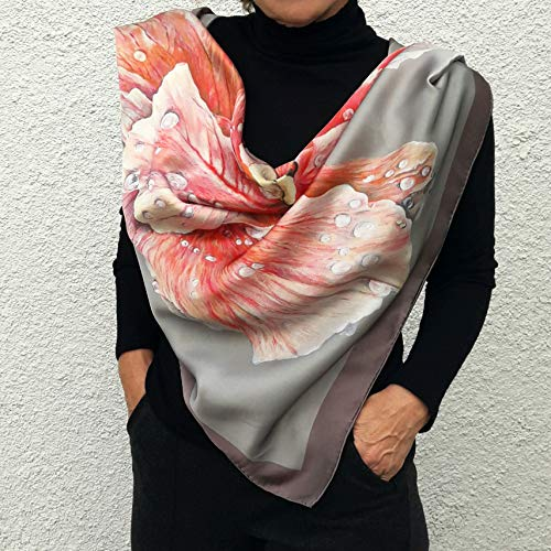 Square Silk Scarf Hand Painted and Printed Pink Beige Grey Big Floral Rose Designer Art Silk any Weather Scarves Large Wrap Birthday Women Gift