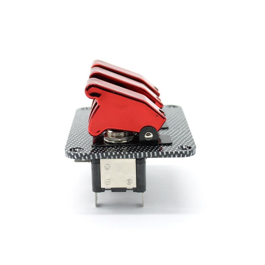 non-brand 3 Tasten 20A Flip Up Z/ündschloss Schalter Kippschalter Switch Panel