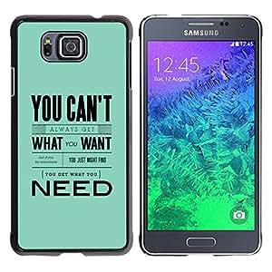 Paccase / SLIM PC / Aliminium Casa Carcasa Funda Case Cover para - Need What Want Blue Baby Text Inspiring - Samsung GALAXY ALPHA G850