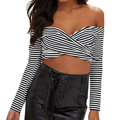 Poplin Cuffed Shorts (WILLTOO Womens Stylish Sexy Tops Off Shoulder Blouse Stripe Long Sleeve T-Shirt Tees (Black, S))