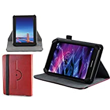 Navitech Red Faux Leather Hard Case Cover With 360 Rotational Stand For Alldaymall - tablette tactile enfant 7""