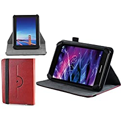 """Navitech Red Faux Leather Hard Case Cover With 360 Rotational Stand For The All-New Fire 7 Tablet with Alexa, 7"""" Display, 8 GB, Black, Punch Red, Marine Red, Canary Yellow"""
