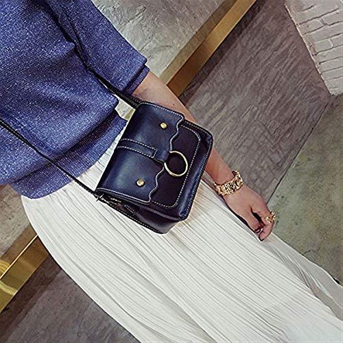 Taille Métal Cross Ladies à Rose Bag bandoulière en Messenger Body Sacs Zippé coloré Noir Anneau Cuir en Décoration Femmes Moontang Casual zq51wU6H1