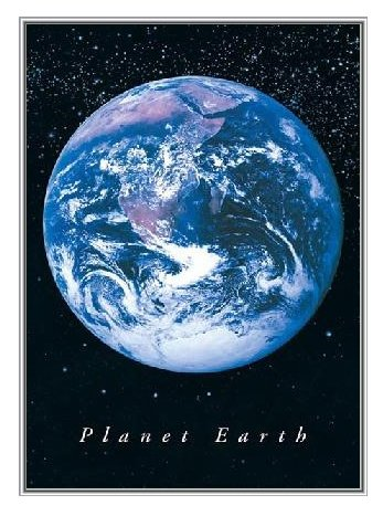 Planet Earth Framed Poster - Quality Silver Metal Frame 24x3