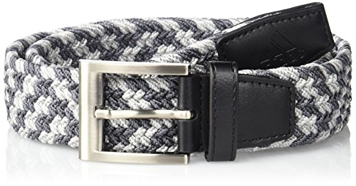 Adidas Webbing Belt - adidas Golf Braided Weave Stretch Belt, Black/Mid Grey Vista Grey S15, Small/Medium